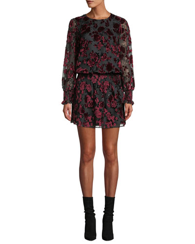 Carmindy Floral Velvet Long-Sleeve Short Dress