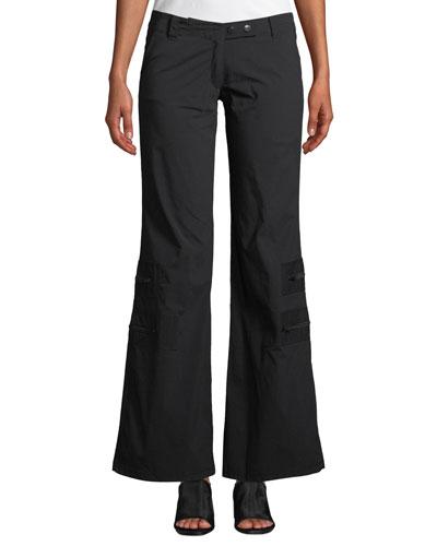 Flare-Leg Cargo Pants w/ Zip Pockets