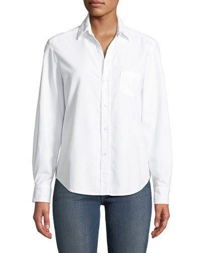 Long-Sleeve Button-Down Poplin Shirt