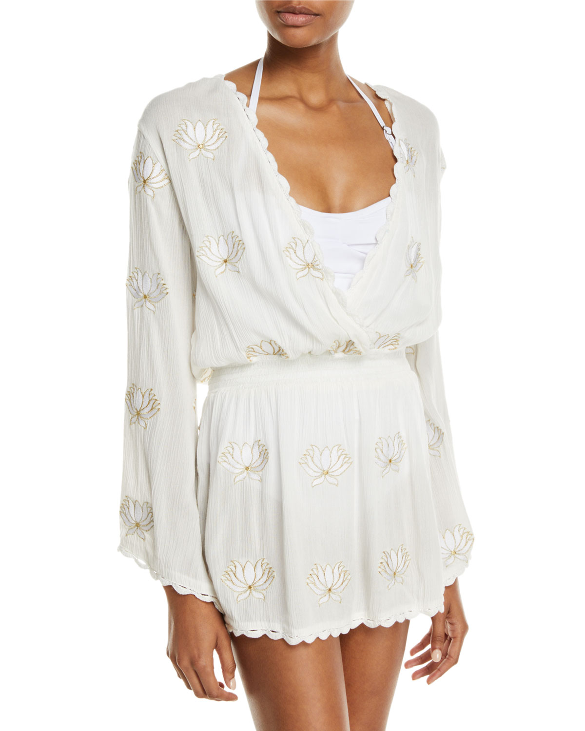 Letarte EMBROIDERED FLORAL LONG-SLEEVE COVERUP TUNIC