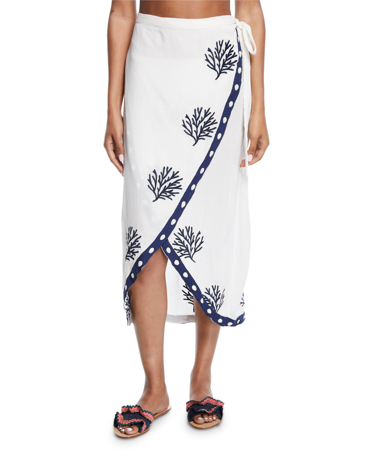 Letarte CORAL EMBROIDERED WRAP COVERUP SKIRT