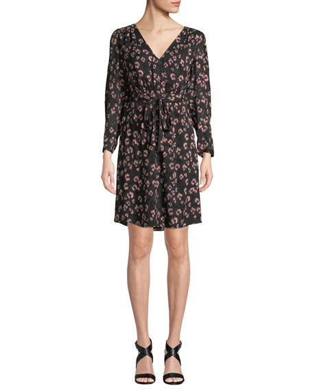Rebecca Taylor Long-Sleeve Cheetah-Print V-Neck Dress