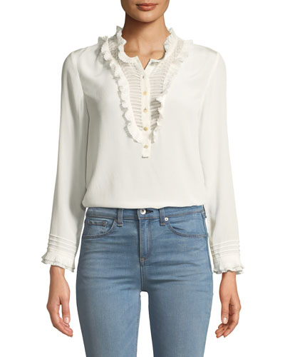 cf5475291cf05 Quick Look. Rebecca Taylor · Ruffled Long-Sleeve Button-Front Silk Top