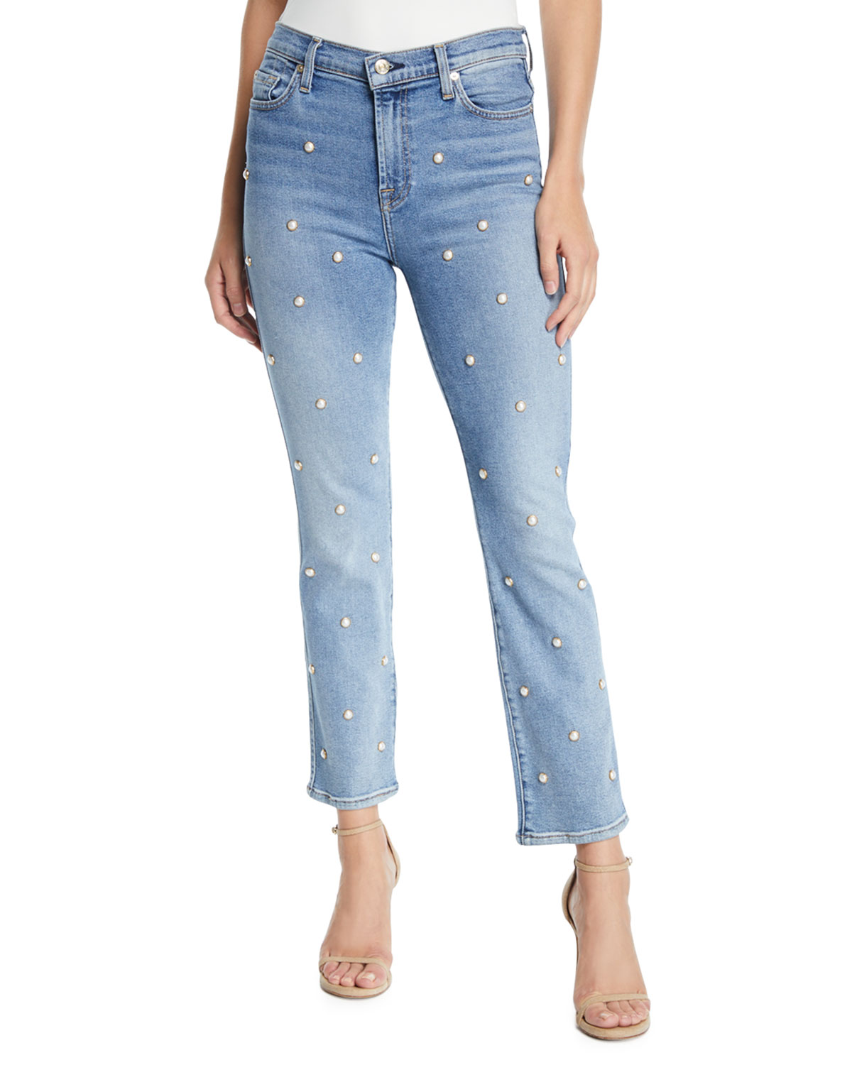 7 FOR ALL MANKIND Edie Embellished Crop Straight Jeans In Luxe Vintage Flora in Light Blue