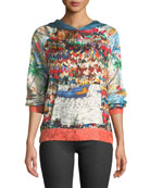La Prestic Ouiston Long-Sleeve Multi-Print Silk Hoodie