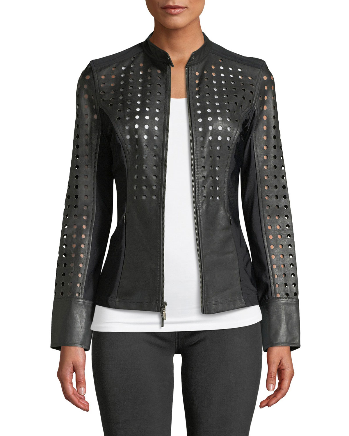 ANATOMIE Abigail Perforated Lamb Leather Motorcycle Jacket in Black