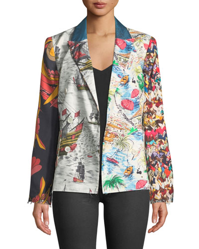 best website 41061 bbcde Quick Look. La Prestic Ouiston · Tom Sawyer Long-Sleeve Mix-Print Silk  Jacket