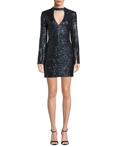Sawyer Sequined Split-Sleeve Cocktail Dress