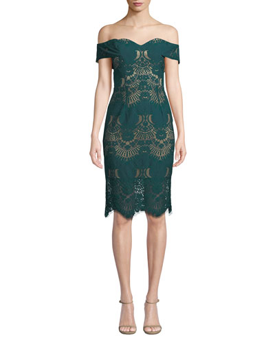Alex Off-Shoulder Lace Cocktail Dress