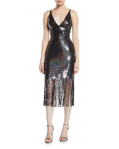 Frankie Sequin Fringe Sleeveless Dress
