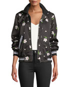Milly Mock-Neck Floral Print Long-Sleeve Bomber Jacket