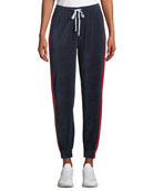 Kendall + Kylie Drawstring Side-Stripe Velour Track Pants