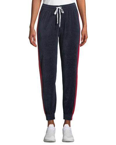 Drawstring Side-Stripe Velour Track Pants