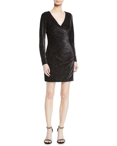 Metallic Knit Long-Sleeve Dress