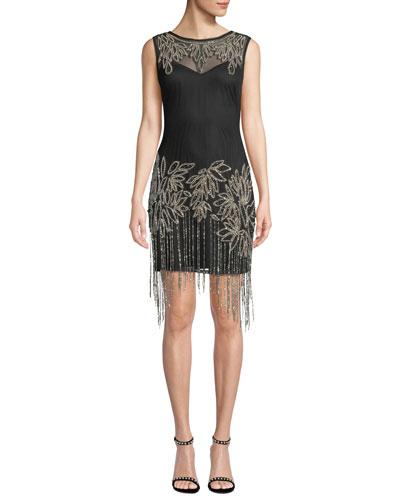 Beaded Fringe Sleeveless Dress