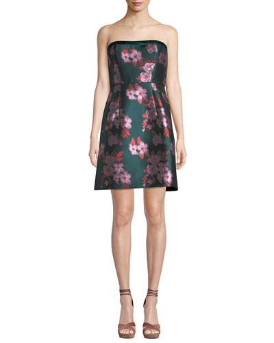 Strapless Metallic Jacquard Flower Dress