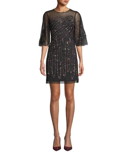 Graphic-Beaded Sheer Mini Dress