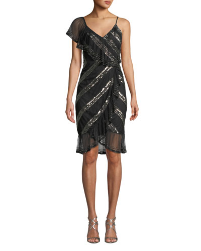 Sequin-Striped Asymmetric Dress
