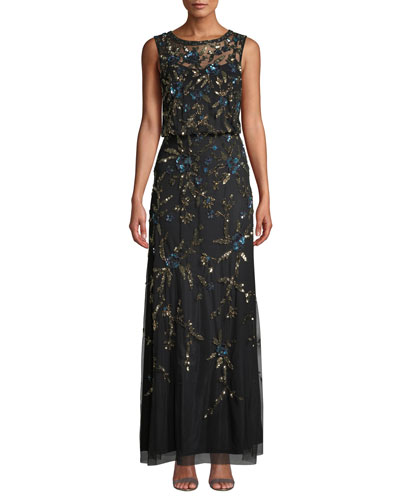 Beaded Sleeveless Gown