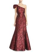 Aidan Mattox One-Shoulder Jacquard Ball Gown