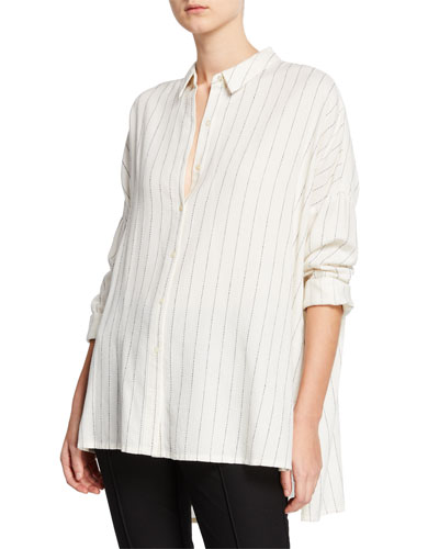 Plus Size Striped Gauze Button-Front Classic Collar Boxy Shirt