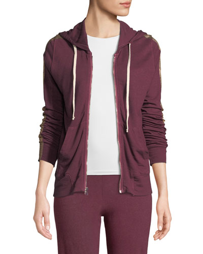 Metallic Side-Stripe Hooded Jacket