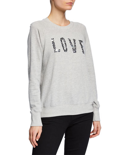 Love Sequined Raglan Pullover Sweater
