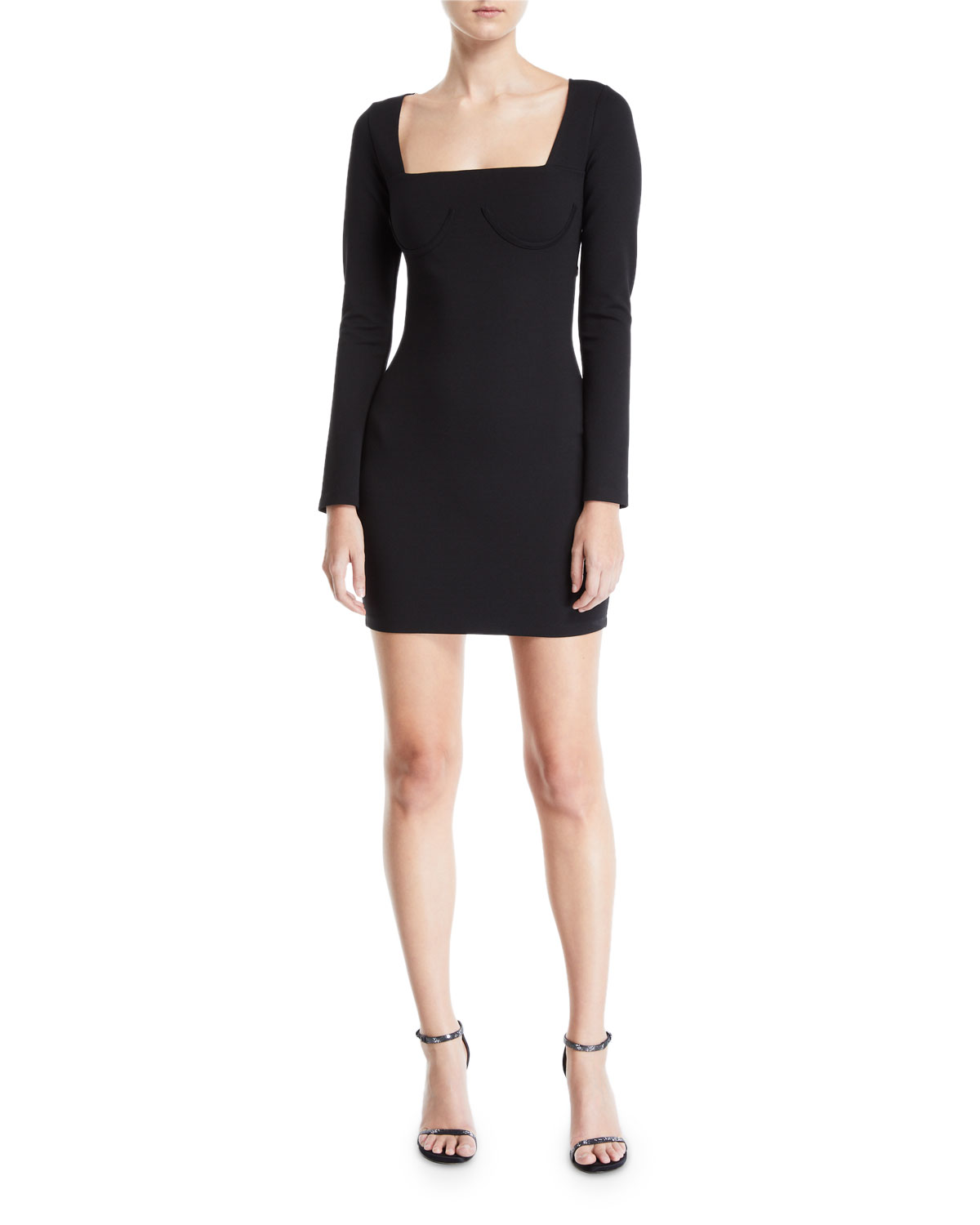 DONNA MIZANI Romana Long-Sleeve Cutout-Back Mini Dress in Black