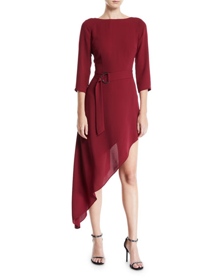 Donna Mizani Iva Asymmetric Belted Dress