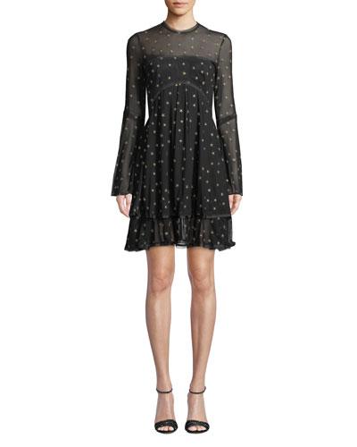Saint Sheer Long-Sleeve Star Mini Dress