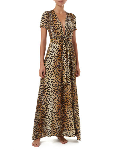 ab8d94f21c Quick Look. Melissa Odabash · Lou Cheetah-Print Belted Short-Sleeve Maxi  Dress