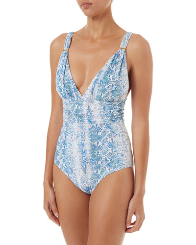 Panarea Snake-Print Shirred One-Piece Swimsuit