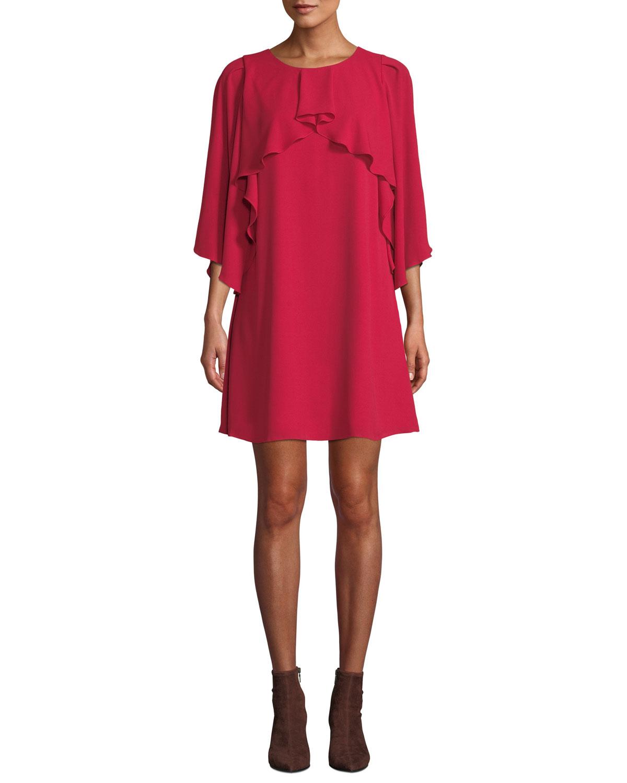 Halston Heritage FLOWY-SLEEVE HIGH-NECK DRAPE DRESS