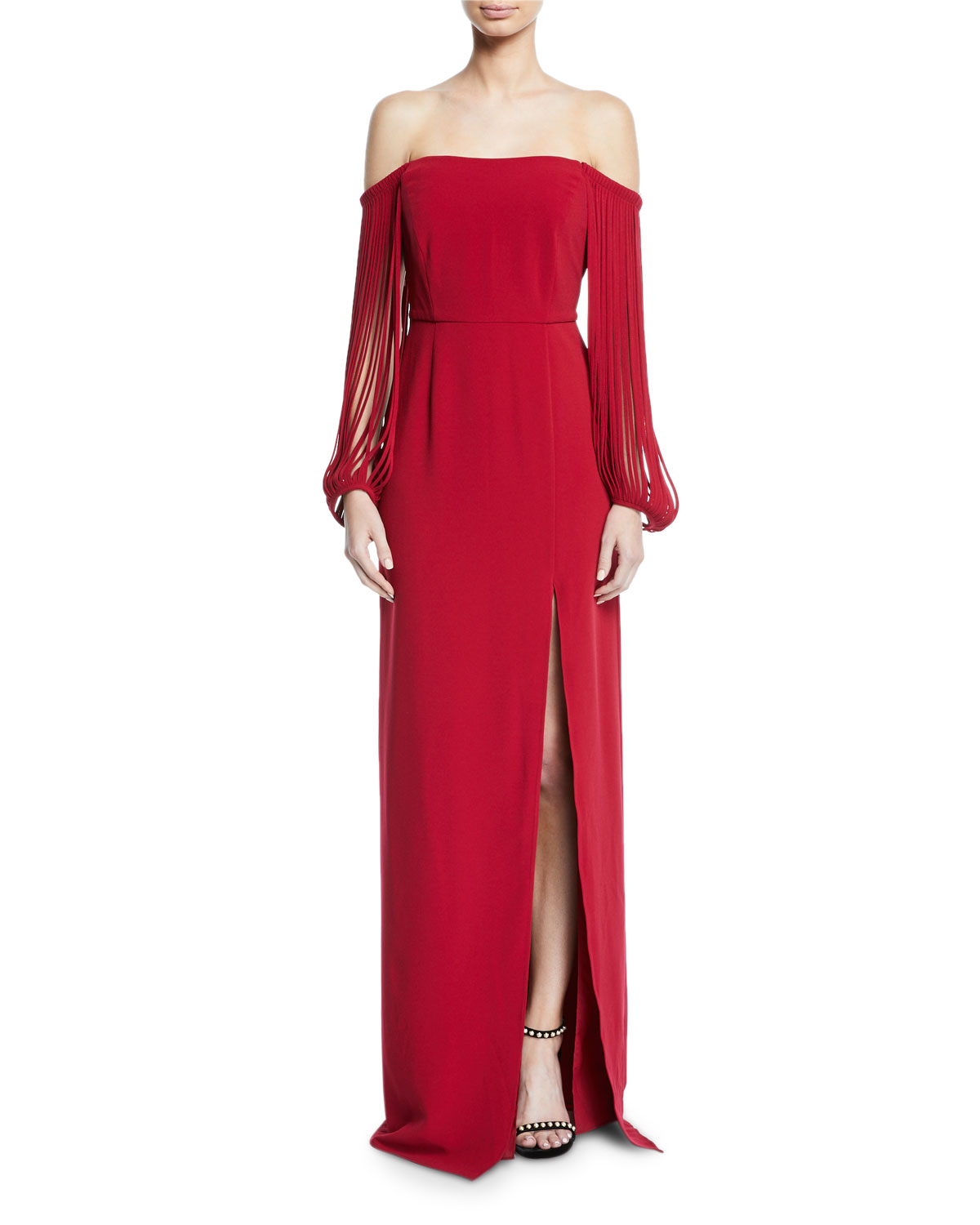Halston Heritage OFF-THE-SHOULDER STRIPPED-SLEEVE GOWN