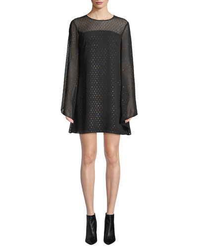 Tess 2 Swiss Dot Long-Sleeve Mini Dress