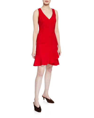 Spumante V-Neck Sleeveless Double Luxe Dress with Flounce Hem