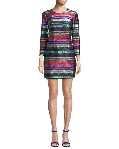 Occasion Jewel-Neck 3/4-Sleeve Metallic Party Striped Dress