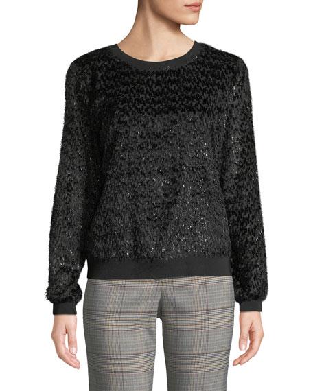 Trina Turk Blanc Noir Crewneck Long-Sleeve Confetti-Shag Sweatshirt