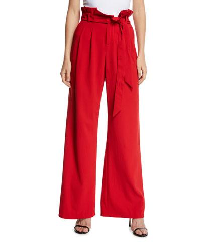 Farrel Paperbag-Waist Pleated Pants