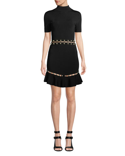 Evelyn Mock-Neck Short-Sleeve Fit-and-Flare Dress
