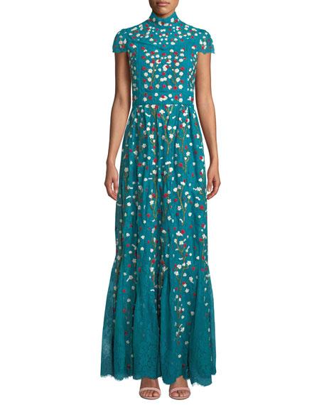 Alice + Olivia Arwen Embroidered Godet Gown