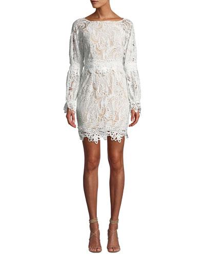 Kate Heavy Lace Long-Sleeve Dress