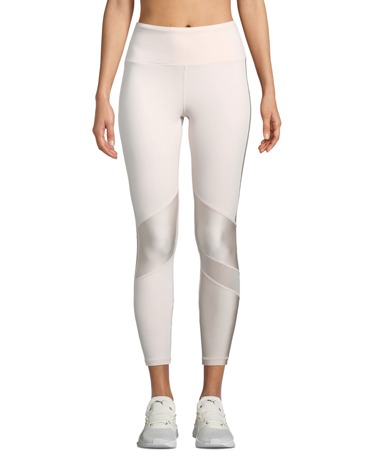 ALALA Love High-Waist Paneled Performance Tights in Light Pink