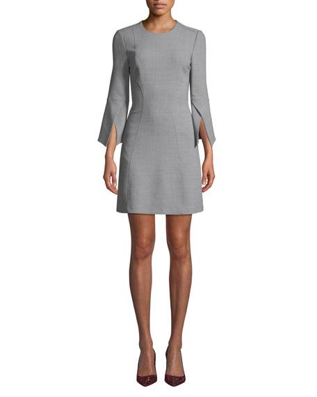 Badgley Mischka Collection Split-Sleeve Mini Dress