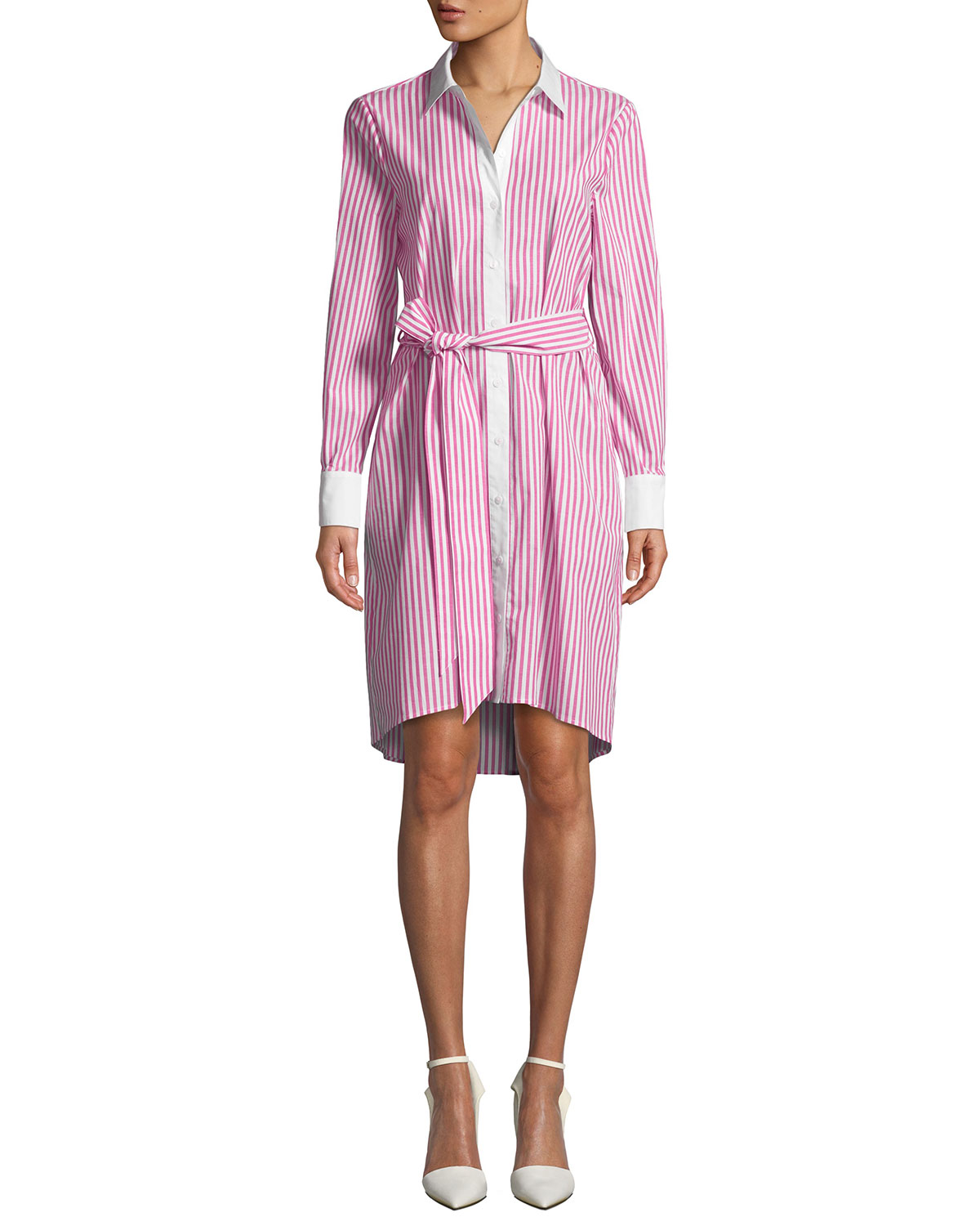 Candy Stripe Shirtdress in Pink/White