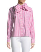 Badgley Mischka Collection Candy Stripe Long-Sleeve Bow-Collar