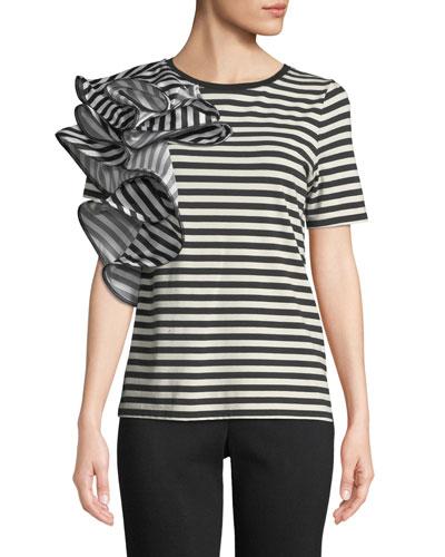 Striped Ruffle-Trim Short-Sleeve Tee