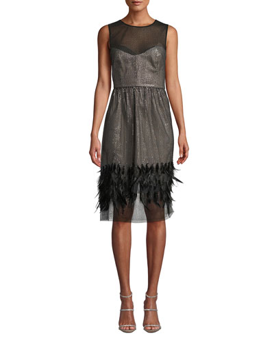 Margot Feather & Sequin Sheer Dress