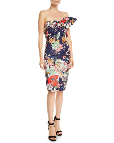 e7cf006823 Quick Look. Badgley Mischka Collection · Floral Strapless Bow Bustier Dress