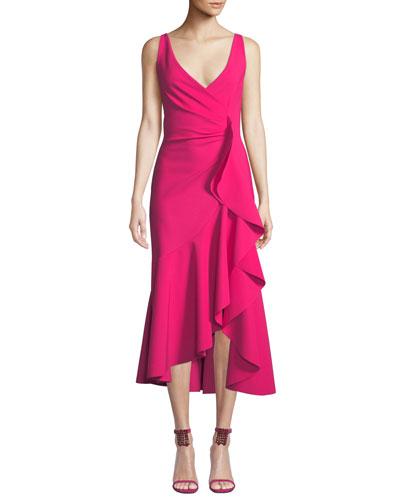 Flounce-Ruffle Sleeveless Dress